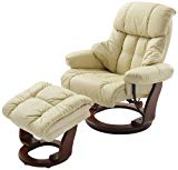 Robas Lund, Sessel, Relaxsessel, Calgary mit Hocker, Leder/creme, 90 x...